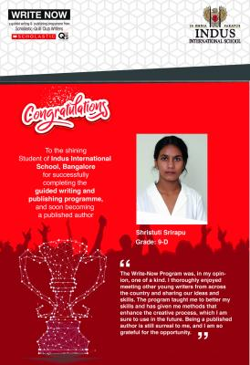 Please join us in congratulating, Shristuti Srirapu - Grade 9 student at IISB